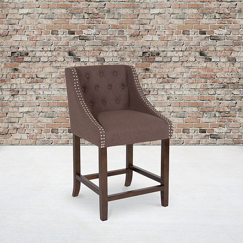 "24"" Brown Fabric/Wood Stool"