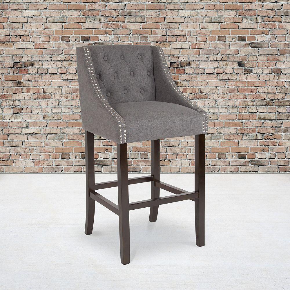 "Flash Furniture 30"" Gray Fabric/Wood Stool"