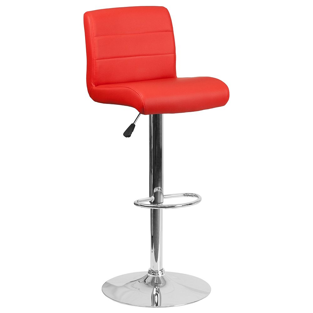 Flash Furniture Contemporary Red Vinyl Adjustable Height Barstool with Rolled Seat and Chrome Base