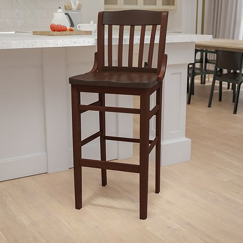 HERCULES Series School House Back Walnut Wood Restaurant Barstool