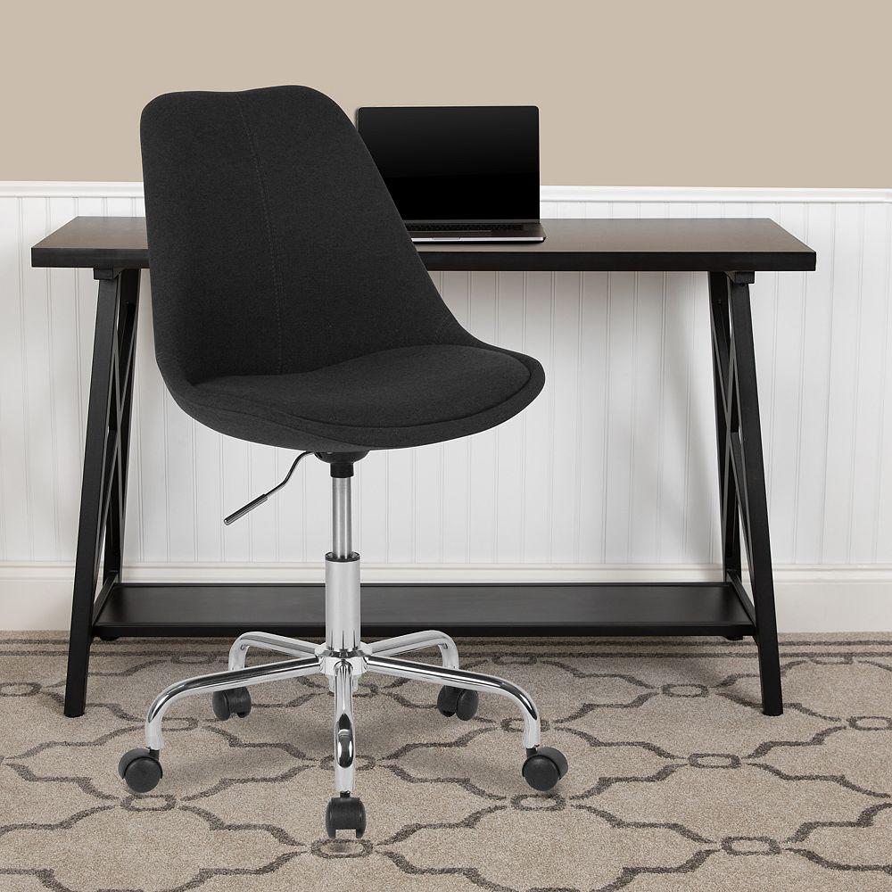Flash Furniture Aurora Series Mid-Back Black Fabric Task Office Chair with Pneumatic Lift and Chrome Base