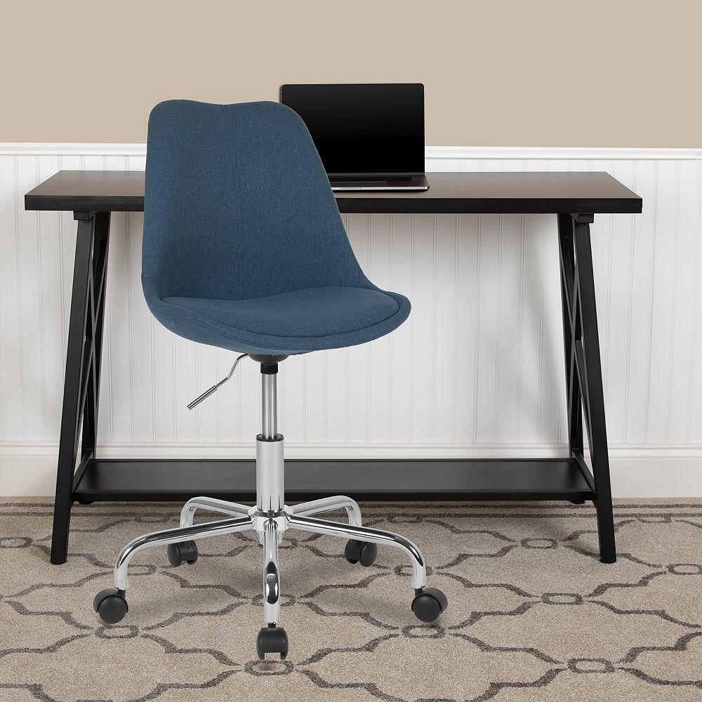 Flash Furniture Chaise de travail en tissu bleu