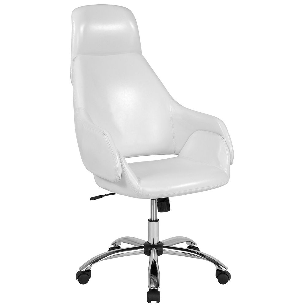 Flash Furniture Marbella Home and Office Upholstered High Back Chair in White Leather