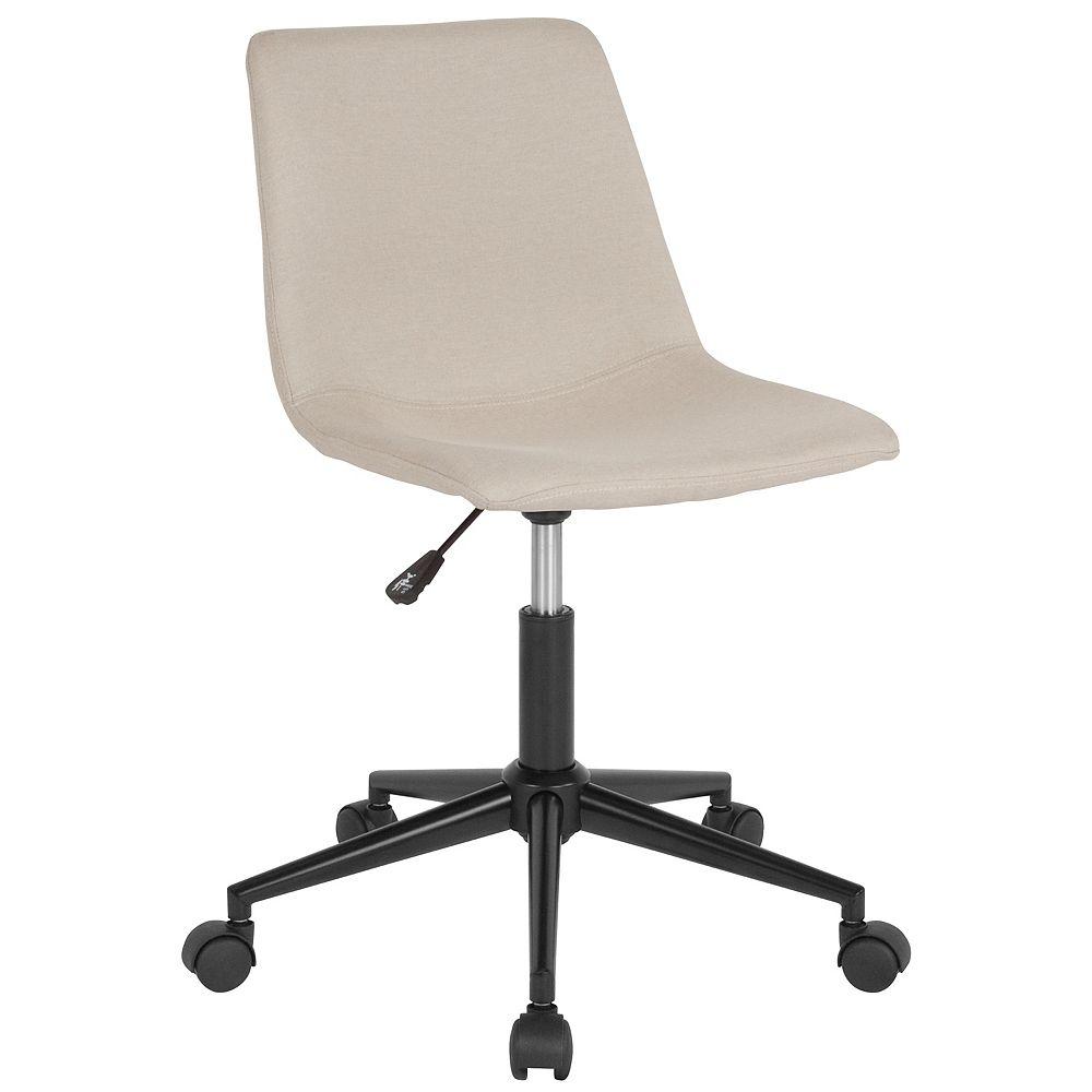 Flash Furniture Chaise de travail Siena pour la maison et le bureau en tissu beige