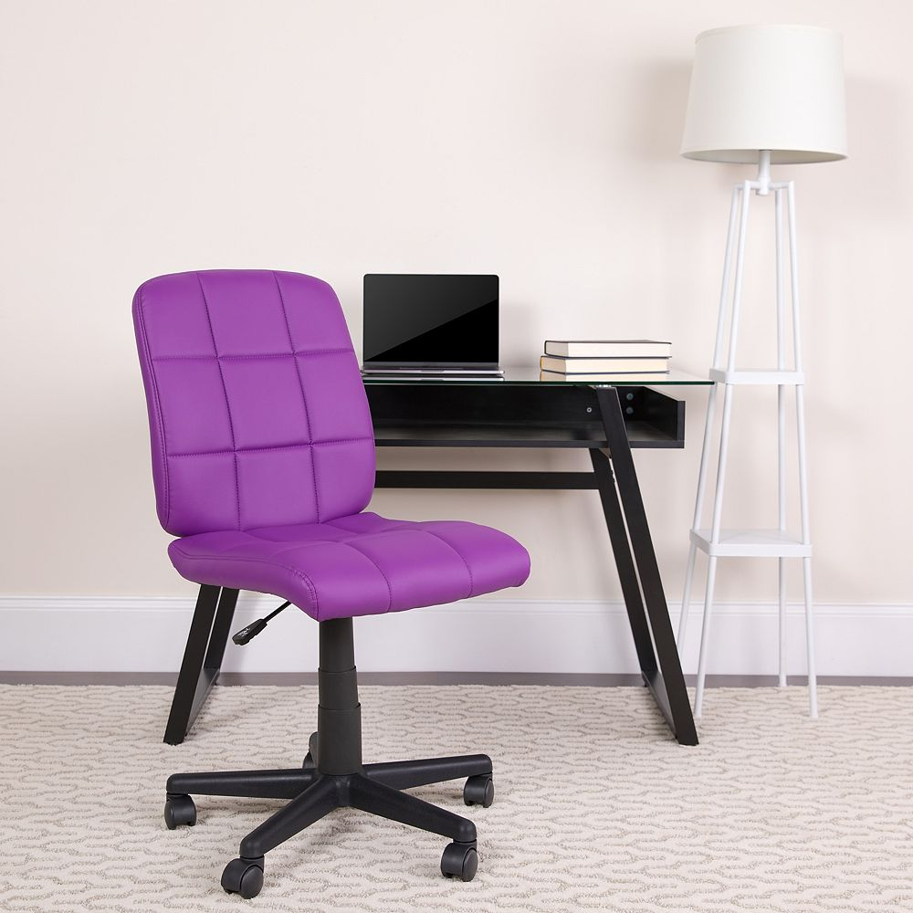 Flash Furniture Mid-Back Purple Quilted Vinyl Swivel Task Chair