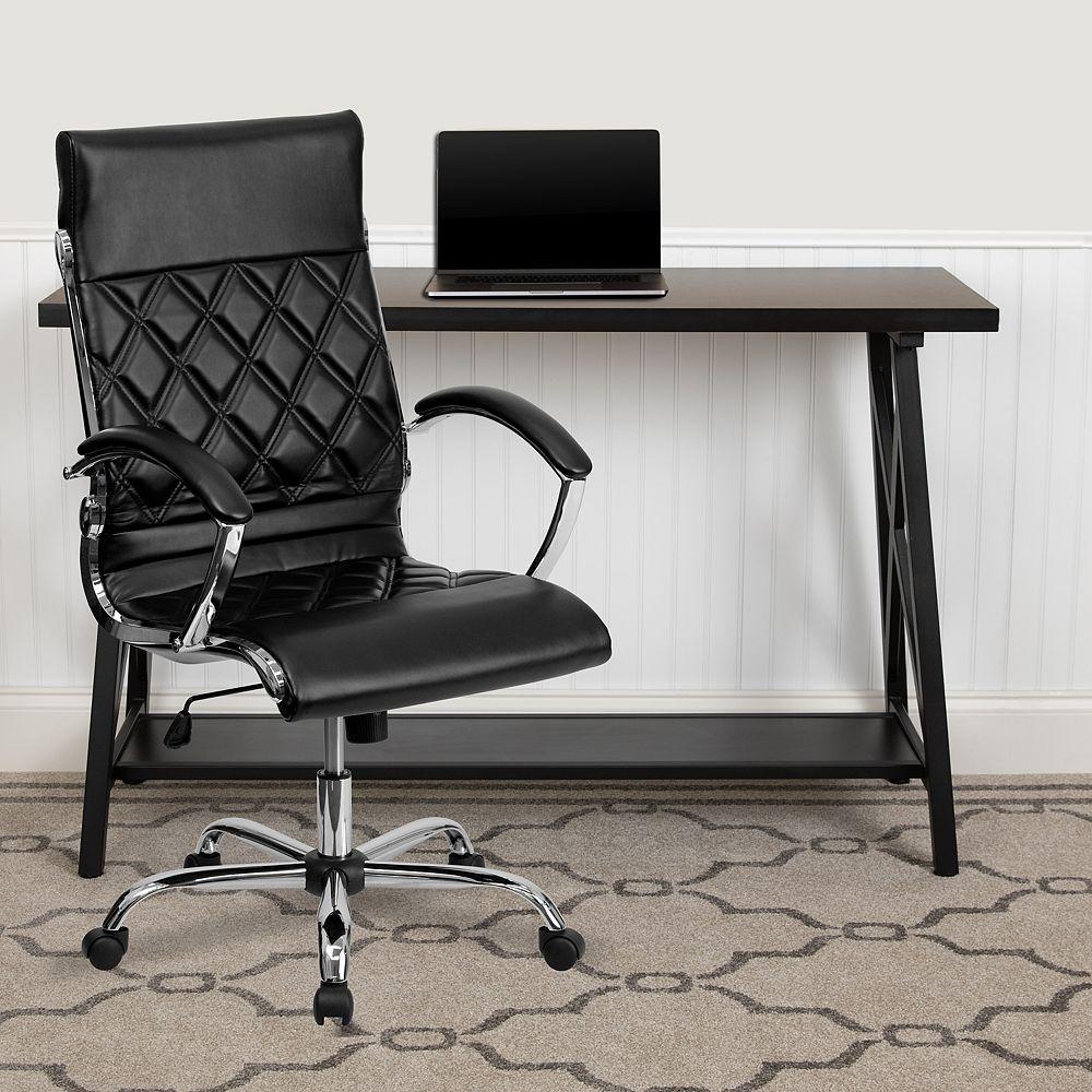 Flash Furniture Chaise en cuir noir à dossier haut
