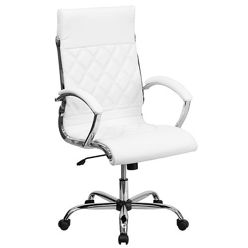 High Back Designer Quilted White Leather Executive Swivel Chair with Chrome Base and Arms