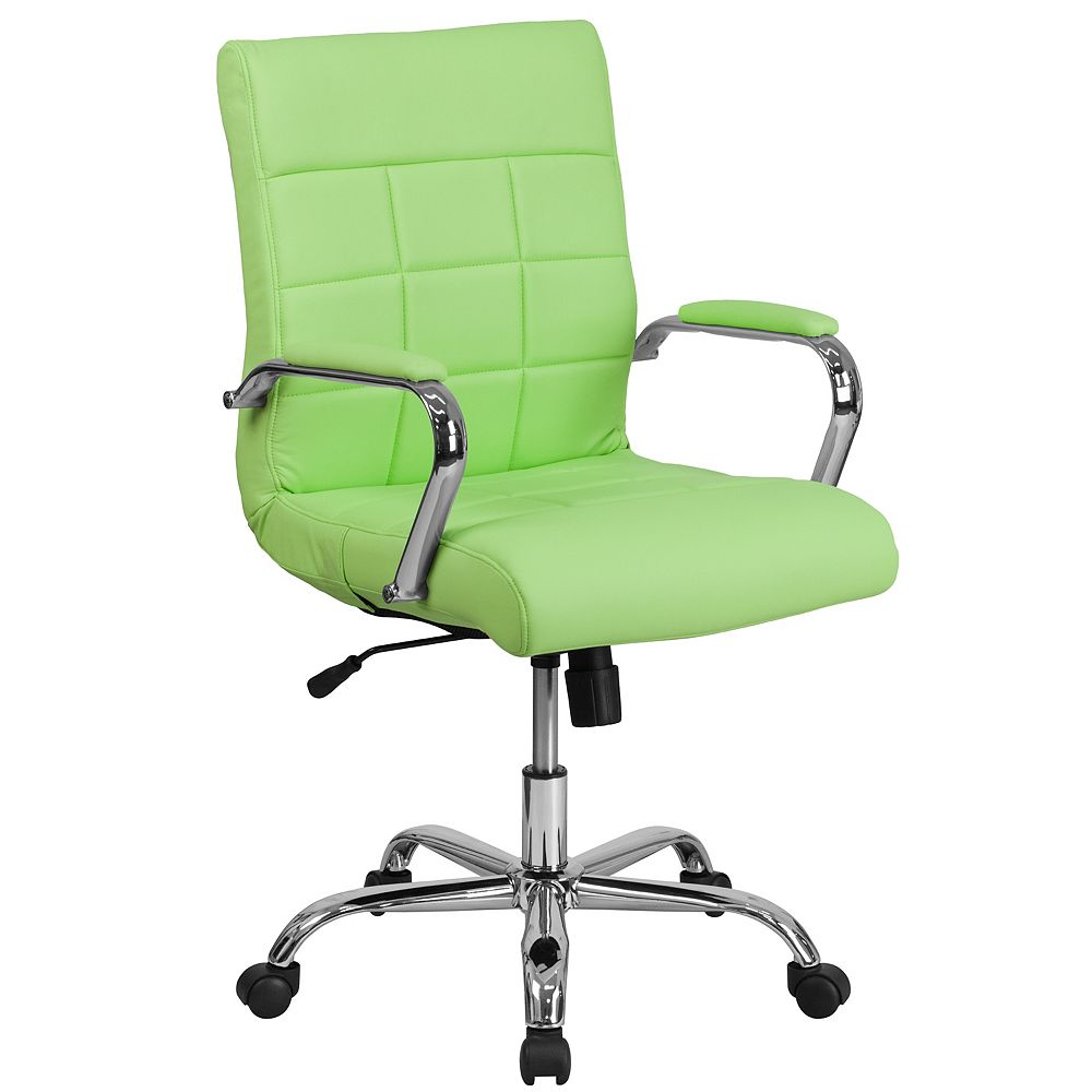 Flash Furniture Mid-Back Green Vinyl Executive Swivel Chair with Chrome Base and Arms