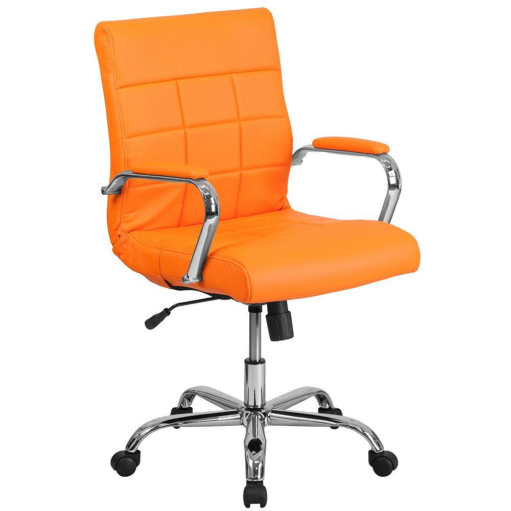 Flash Furniture Chaise exécutive pivotante en vinyle orange à dossier mi-hauteur avec base chromée et appuis-bras