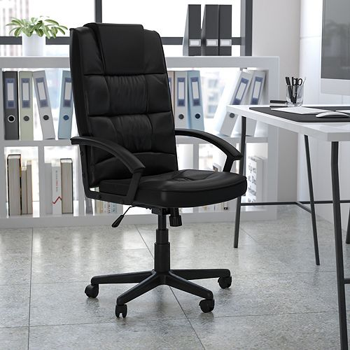 Flash Furniture High Back Black Leather Executive Swivel Office Chair with Arms