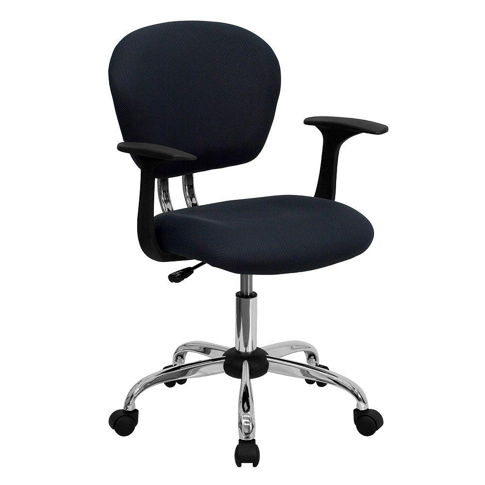 Flash Furniture Chaise de travail grise à dossier mi-hauteur