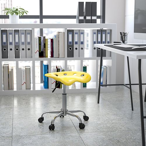 Vibrant Yellow Tractor Seat and Chrome Stool