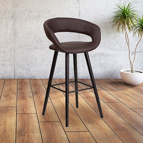 Brynn Series 29'' High Contemporary Cappuccino Wood Barstool in Brown Vinyl
