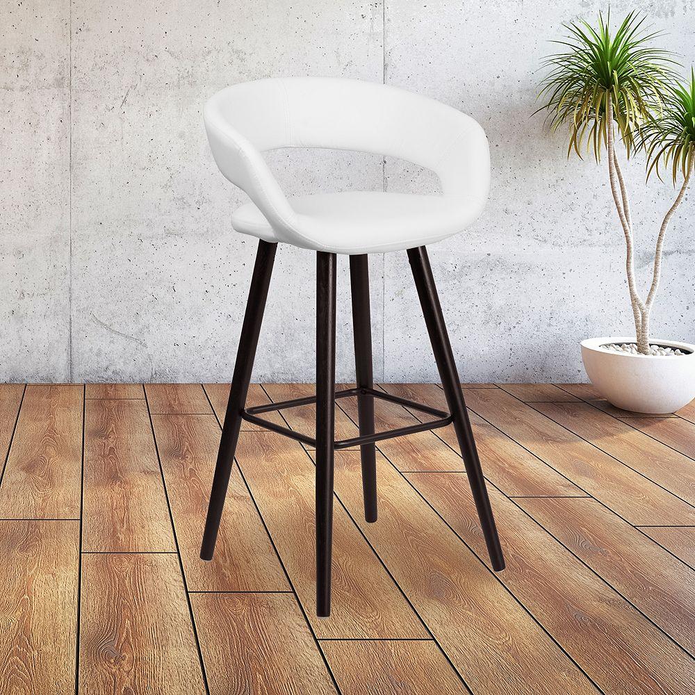"Flash Furniture 29""H White Vinyl Barstool"