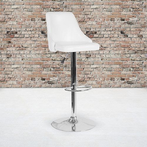Trieste Contemporary Adjustable Height Barstool in White Leather