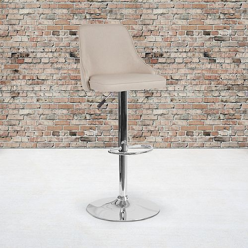 Trieste Contemporary Adjustable Height Barstool in Beige Fabric