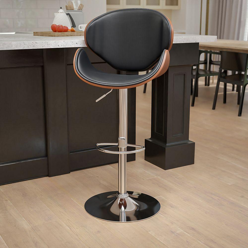 Flash Furniture Tabouret de bar en bois noyer courbé avec dossier courbé et siège en vinyle noir