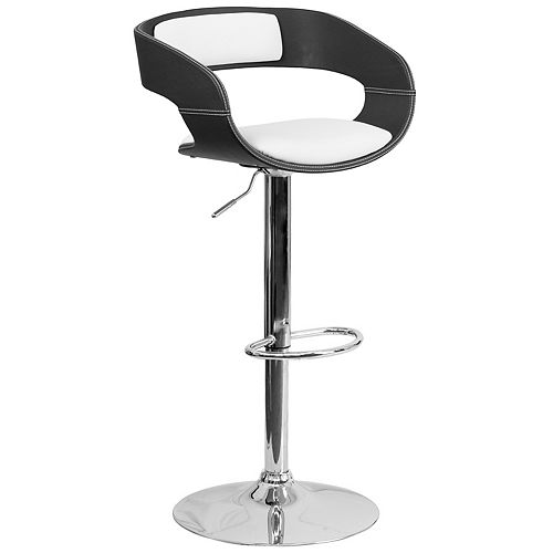 Flash Furniture Bentwood Two Tone Black & White Vinyl Adjustable Height Barstool