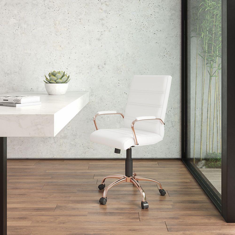 Flash Furniture Chaise exécutive pivotante en cuir blanc à dossier mi-hauteur avec cadre doré rose et appui-bras