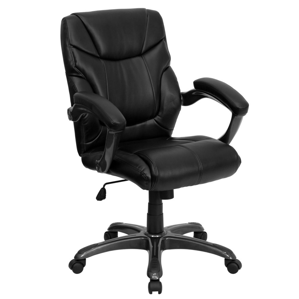 Flash Furniture Mid-Back Black Leather Overstuffed Swivel Task Ergonomic Office Chair with Arms