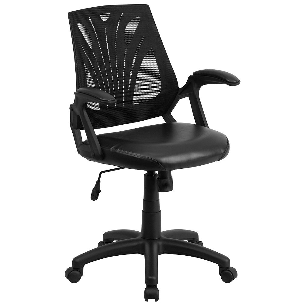 Flash Furniture Mid-Back Designer Black Mesh Swivel Task Chair with Leather Seat and Open Arms