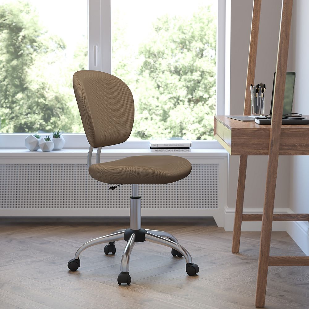 Flash Furniture Mid-Back Coffee Brown Mesh Padded Swivel Task Chair with Chrome Base