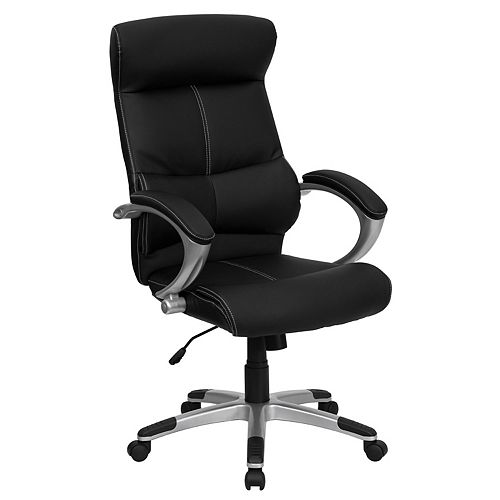 Flash Furniture High Back Black Leather Executive Swivel Office Chair with Curved Headrest and White Line Stitching