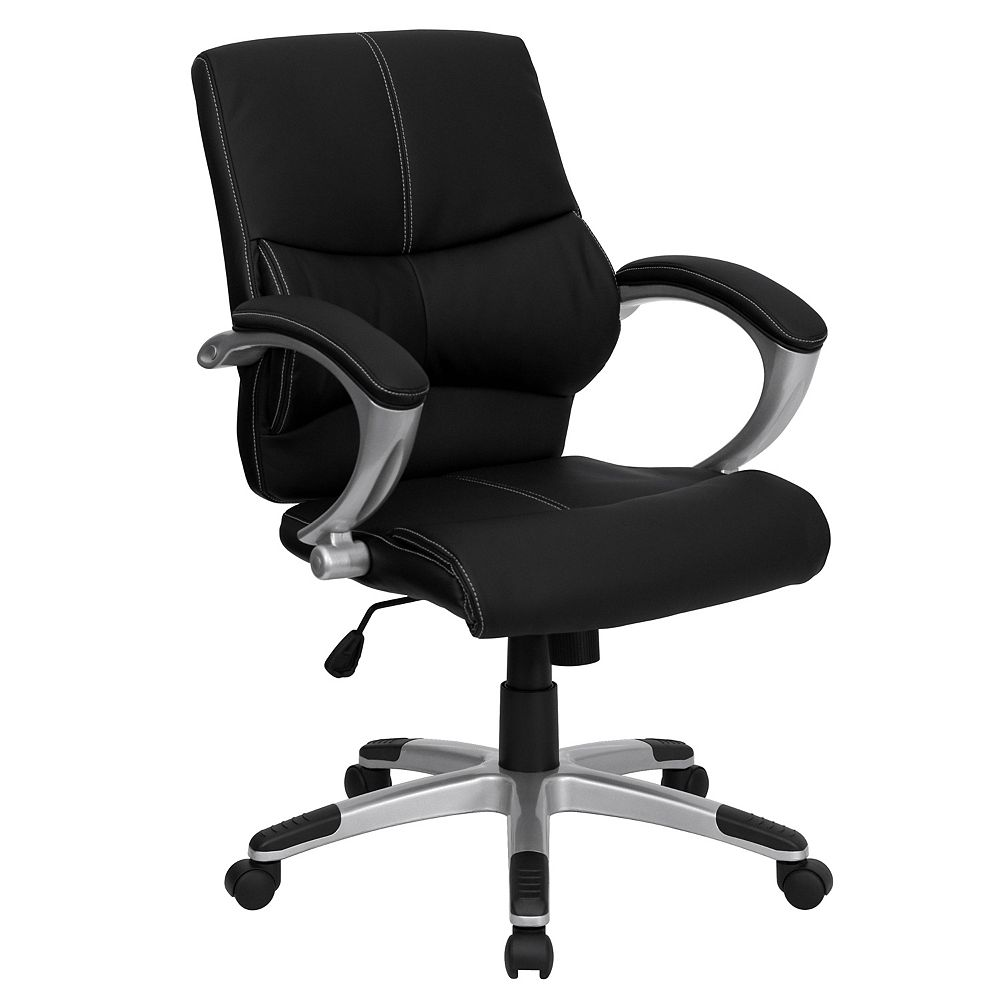 Flash Furniture Mid-Back Black Leather Contemporary Swivel Manager's Office Chair with Arms