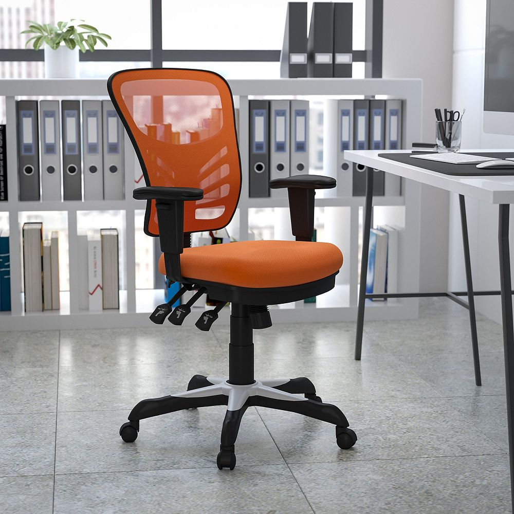 Flash Furniture Mid-Back Orange Mesh Multifunction Executive Swivel Chair with Adjustable Arms