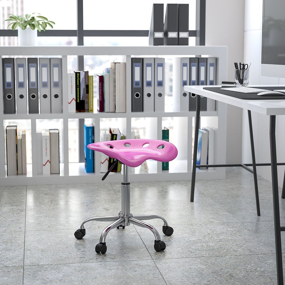Flash Furniture Vibrant Candy Heart Tractor Seat and Chrome Stool