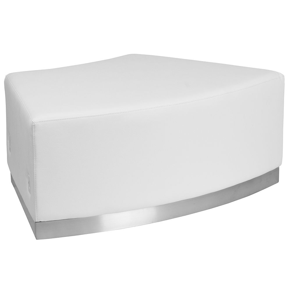Flash Furniture White Leather No Back Chair