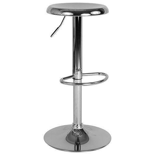 Flash Furniture Madrid Series Adjustable Height Retro Barstool in Chrome Finish