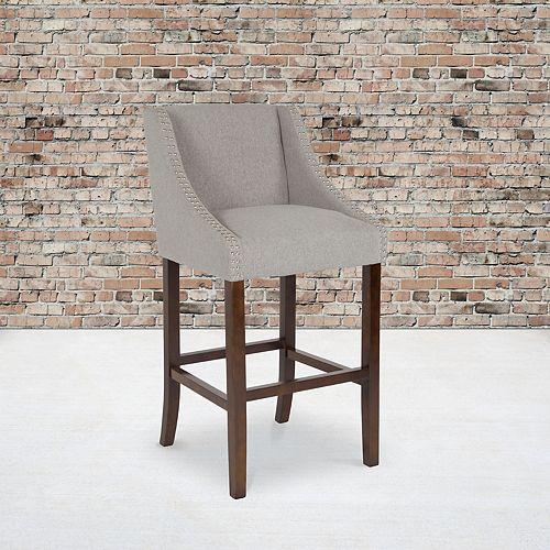 "30"" Gray Fabric/Wood Stool"