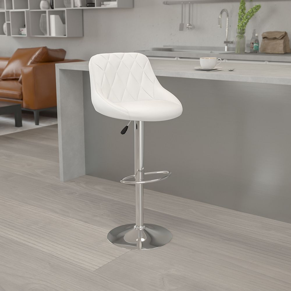 Flash Furniture White Vinyl Barstool