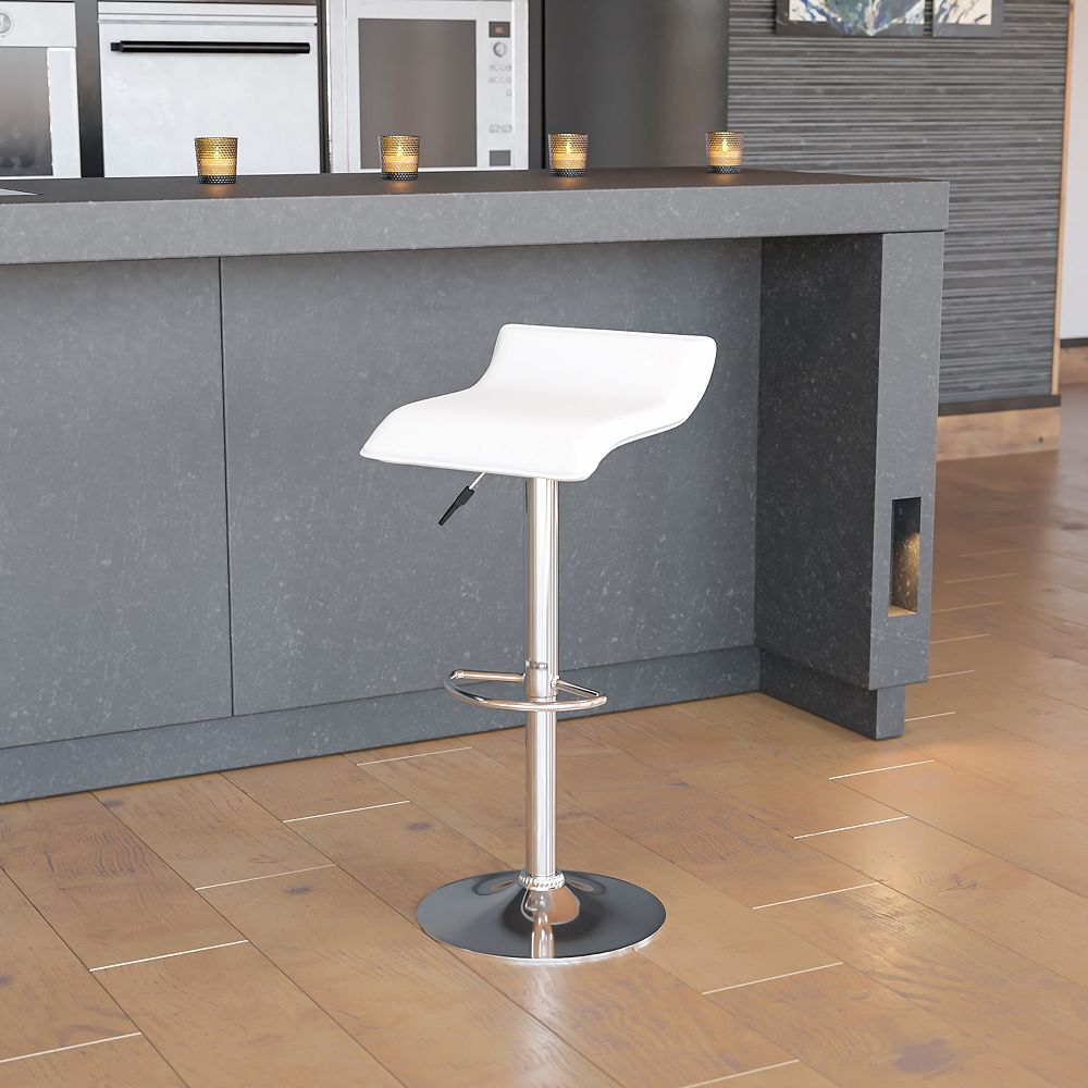 Flash Furniture White Vinyl Barstool