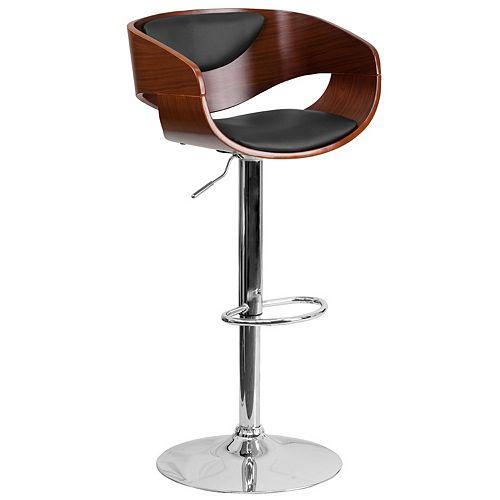Walnut Bentwood Adjustable Height Barstool with Black Vinyl Seat