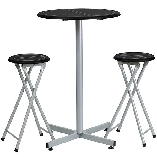 Bar Height Table Set with White Stitch Detail