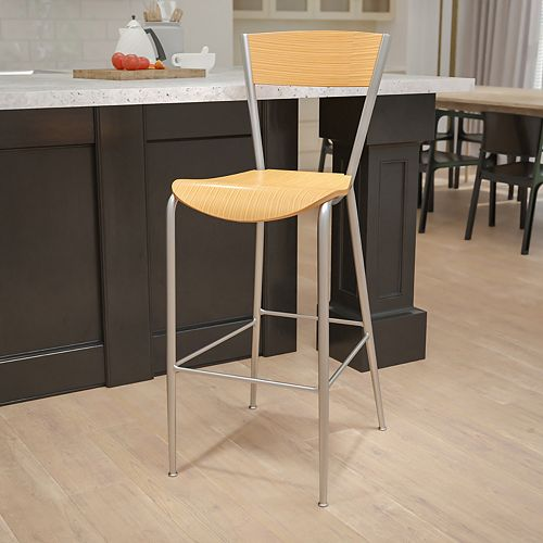 Flash Furniture Invincible Series Silver Metal Restaurant Barstool - Natural Wood Back & Seat