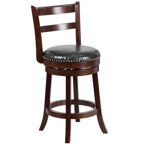 "26"" Cappuccino Wood Stool"