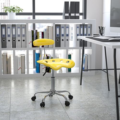 Vibrant Yellow and Chrome Swivel Task Chair with Tractor Seat