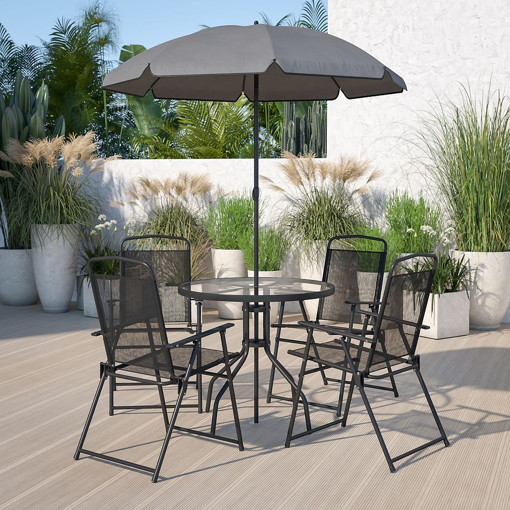 Nantucket 12 Piece Black Patio Garden Set with Table, Umbrella and 12 Folding  Chairs