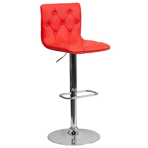 Tufted Red Vinyl Barstool