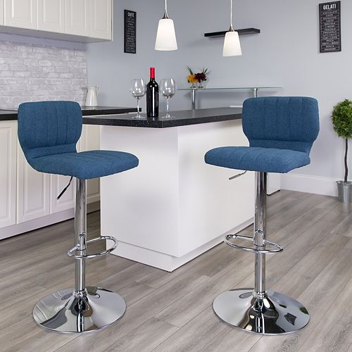Blue Fabric Barstool