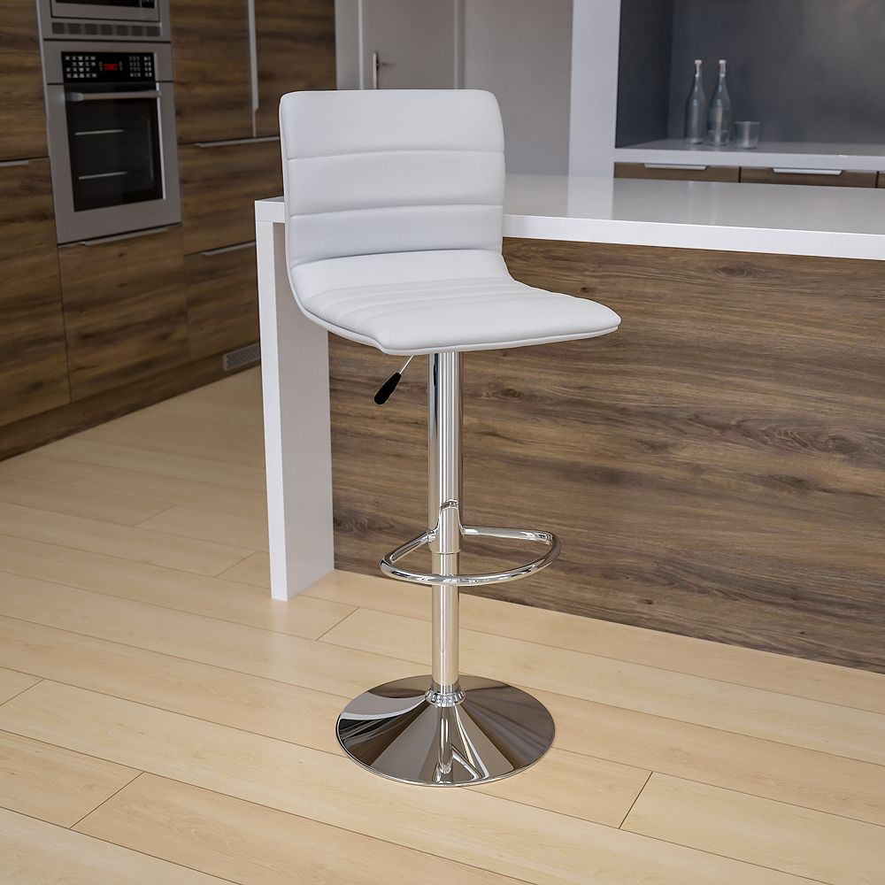 Flash Furniture Contemporary White Vinyl Adjustable Height Barstool with Horizontal Stitch Back and Chrome Base