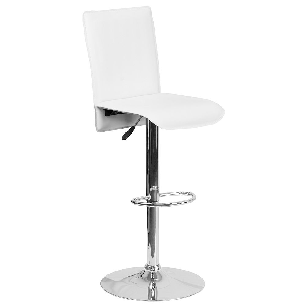 Flash Furniture Contemporary White Vinyl Adjustable Height Barstool with Extended Back and Chrome Base