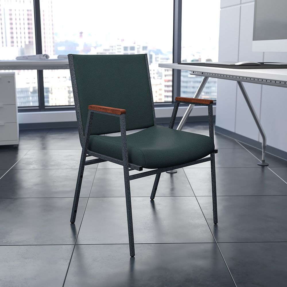 Flash Furniture HERCULES Series Heavy Duty Green Patterned Fabric Stack Chair with Arms