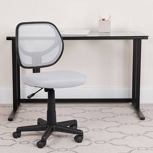 Mid-Back White Mesh Swivel Task Chair