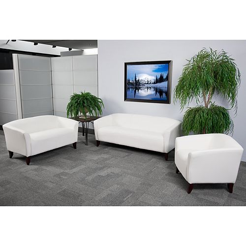 HERCULES Imperial Series White Leather Loveseat