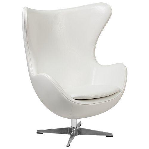 Melrose White Leather Egg Chair with Tilt-Lock Mechanism