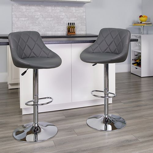 Contemporary Gray Vinyl Bucket Seat Adjustable Height Barstool with Chrome Base